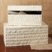 Two's Company Basketweave 2 Piece Bone Box Set