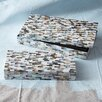 Two's Company 2 Piece Mother of Pearl Mosaic Tiles Covered Box Set