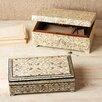 Two's Company 2 Piece Leaf Bone Inlay Jewelry Box Set with Lock and Key