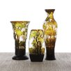 Two's Company 3 Piece Landscapes Hand-Etched Vase Set