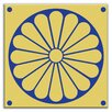 "Oscar & Izzy Folksy Love 4-1/4"" x 4-1/4"" Glossy Decorative Tile in Citrus Plate Gold-Blue"