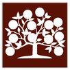 "<strong>Oscar & Izzy</strong> Folksy Love 4-1/4"" x 4-1/4"" Satin Decorative Tile in Tree of Life Burgundy"