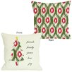 One Bella Casa Holiday Friends Family Peace Ikat Christmas Tree Reversible Pillow