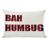 <strong>OneBellaCasa.com</strong> Holiday Plaid Bah Humbug Reversible Pillow