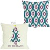 One Bella Casa Tis The Season Ikat Tree Reversible Pillow