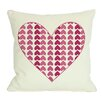 One Bella Casa Repeating Heart Throw Pillow