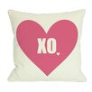 One Bella Casa XO Heart Throw Pillow in Pink & Cream