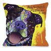 One Bella Casa Doggy Décor Daisy Pit with Text Throw Pillow