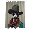 One Bella Casa Pets Rock Cowboy Polyester Shower Curtain