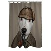 One Bella Casa Pets Rock Detective Polyester Shower Curtain