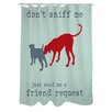 OneBellaCasa.com Doggy Decor Friend Request Polyester Shower Curtain