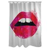 One Bella Casa Oliver Gal Lola's Lips Polyester Shower Curtain