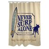 One Bella Casa Doggy Decor Never Surf Alone Polyester Shower Curtain