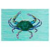 Betsy Drake Interiors Coastal  Blue Crab Door Mat