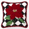 <strong>Peking Handicraft</strong> Poinsettia Diamonds Wool / Cotton Pillow