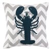 Peking Handicraft Nautical Embroidery Lobster Throw Pillow