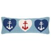 Peking Handicraft Nautical Hook Anchor Hearts Pillow