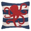 Peking Handicraft Nautical Hook Octopus Stripe Pillow