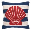 Peking Handicraft Nautical Hook Seashell Stripe Pillow