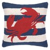 Peking Handicraft Nautical Hook Crab Stripe Pillow