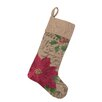 Peking Handicraft Poinsettia Burlap Stocking