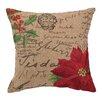 Peking Handicraft Poinsettia Burlap Decorative Pillow