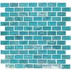 "Onix USA Geo Glass Brick 1-3/5"" x 4/5"" Glass Mosaic in Blue"