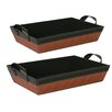 WaldImports Faux Leather Sided Tray (Set of 2)
