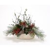 Distinctive Designs Down Home Snow-Dusted Evergreens Berries Pine Cones in Planter