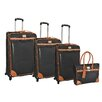 Adrienne Vittadini Saffiano 4 Piece Luggage Set