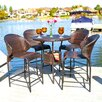 Home Loft Concept Stefan Wicker Outdoor 5 Piece Bistro Bar Set with Ice Pail
