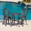 <strong>Home Loft Concept</strong> Domingo 3 Piece Bronze Cast Aluminum Outdoor Bistro Set