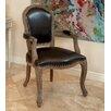 Home Loft Concept Carolina Leather Weathered Wood Arm Chair