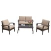 Home Loft Concept Tullip 4 Piece Deep Seating Group in Brown with Cushions