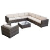 Home Loft Concept Moroni 9 Piece Deep Seating Group in Grey with Cushions