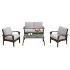 Home Loft Concept Bideford 4 Piece Deep Seating Group in Grey with Cushions