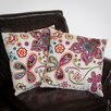 "Home Loft Concept Heather 18"" Paisley Floral Pillows (Set of 2) (Set of 2)"