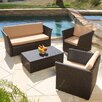 Home Loft Concept Niguel Outdoor Seating Set with Light Beige Cushions