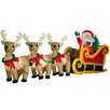 Gemmy Industries Santa In Sleigh with Three Reindeer Christmas Decoration