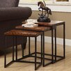 Coast to Coast Imports LLC 3 Piece Nesting Table Set in Black & Brown