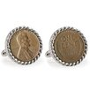 American Coin Treasures Nickel Bezel Rope Cufflinks