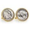 American Coin Treasures Nickel Buffalo Bezel Rope Cufflinks
