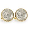 <strong>American Coin Treasures</strong> Nickel Bison Bezel Rope Cuff Links