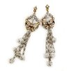 <strong>Sweet Romance</strong> Bows and Fire Balls Crystal Drop Earrings