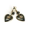 Sweet Romance Enamel Heart Round Crystal Drop Earrings