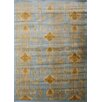 eCarpet Gallery Ikat Light Blue/Gold Abstract Area Rug
