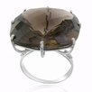 DeBuman 10K White Gold Tea Quartz Ring