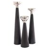 <strong>Foreign Affairs Home Decor</strong> 3 Piece Safari Nicco Nickel Candlestick Set