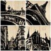Selamat Paris City 4 Piece Graphic Art Plaque Set