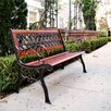Innova Hearth and Home Cross Webbing Cast Iron and Hardwood Park Bench